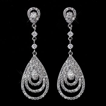Classic Cubic Zirconia Wedding or Prom Earrings