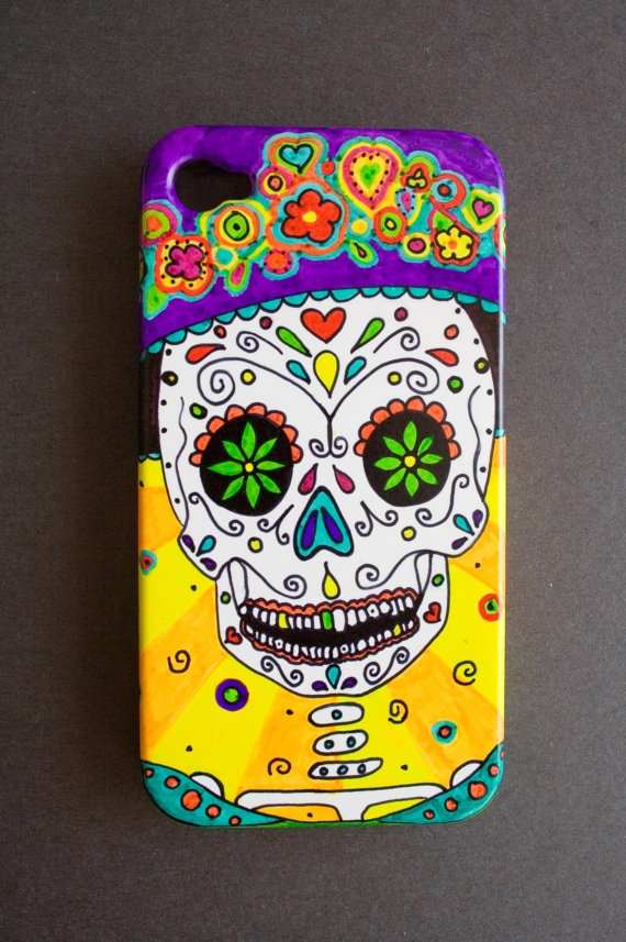 Catrinas Hand Painted Sugar Skull Cell Phone Case by MandaPandaCA, $27.99