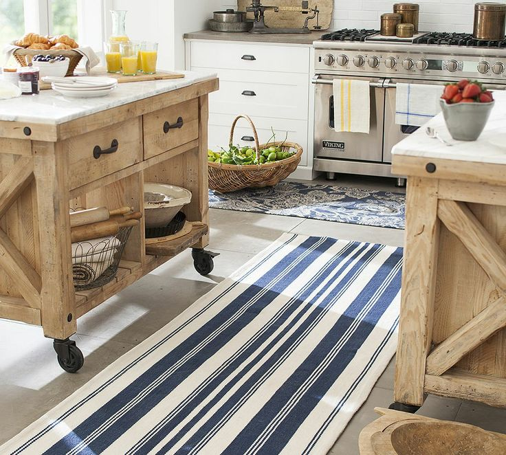 Pottery Barn Kitchen Rugs Play For Kids Oxford Stripe Recycled Yarn Indoor Outdoor Rug 3x5 Blue At Coastal Home Living And Accessories
