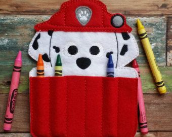 Recycle Pup Felt Crayon Holder by TreasuredForever on Etsy
