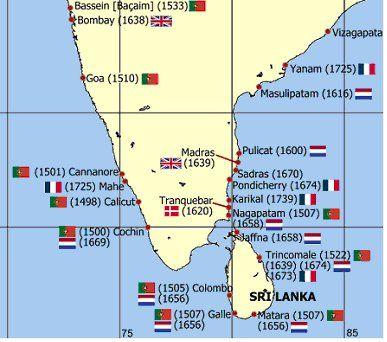Kort over placeringen af den danske tropekoloni Trankebar