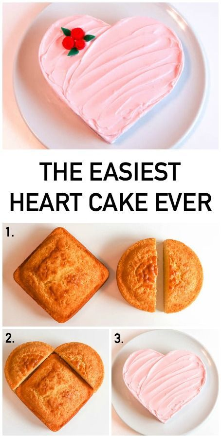 """The Easiest Heart Cake Ever (4 Ways!) You know the KISS rule (""""Keep it Simple, Stupid"""")? Here's the perfect example. The *easiest heart cake eve..."""