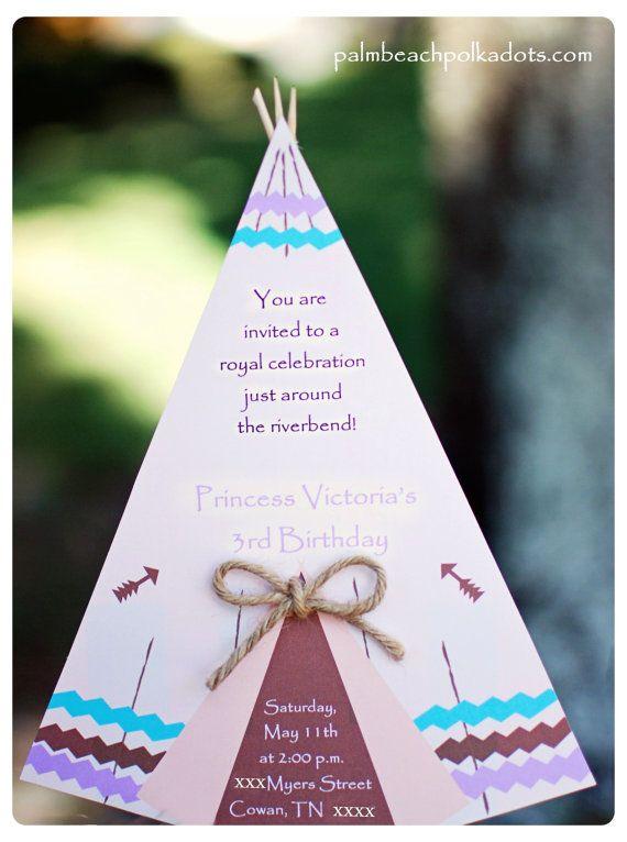 Pocahontas Tee Pee Princess Birthday Invitation or Camping Party Invitation by Palm Beach Polkadots