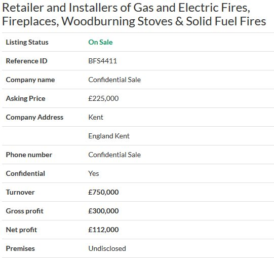 Business for sale- Retailer and Installers of Gas and Electric Fires, Fireplaces, Woodburning Stoves & Solid Fuel Fires Ref. BFS4411 Location England Kent Asking Price £225,000 #selling your business #business sale #online business sales #online business agency #Businesses for sale #sell a business #UKbusinesstransferagents #Business transfer agents in UK #Free onlinebusiness transfer agents