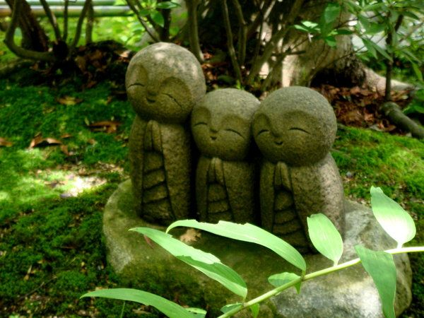 Chibi Jizo statues somewhere in Japan Carved Stone
