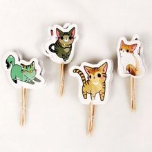 720 unids de Dibujos Animados del Gato Encantador Animal Cupcake Toppers pick niño suministros Fiesta de Cumpleaños Decoración de La Boda Torta de banderas al por mayor Nueva(China)