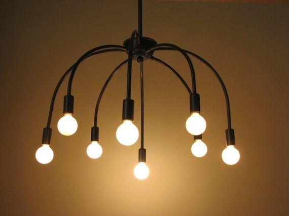 Umbrella chandelier: Lamps, Umbrellas Chandeliers, Dining Room Chand, Hands, Boxes, Vintage Lights, Brass, Dining Room Lights, Lights Ideas