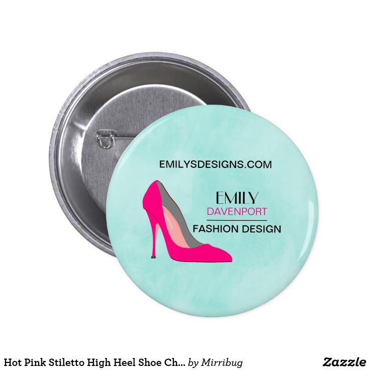 Hot Pink Stiletto High Heel Shoe Chic Business Pinback Button
