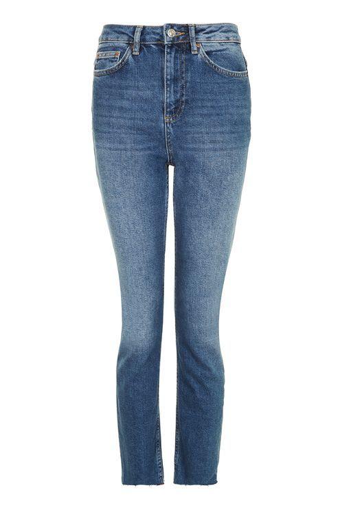 MOTO Dark Blue Raw Hem Straight Leg Jeans