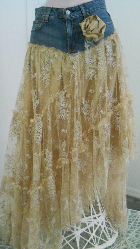 Belle Bohémienne exquisite vintage beige lace funky frou frou Renaissance Denim Couture bohemian jean skirt Made to Order. $150.00, via Etsy.