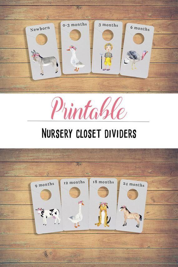 Farm Animals Closet Dividers Printable Nursery Organizer Baby