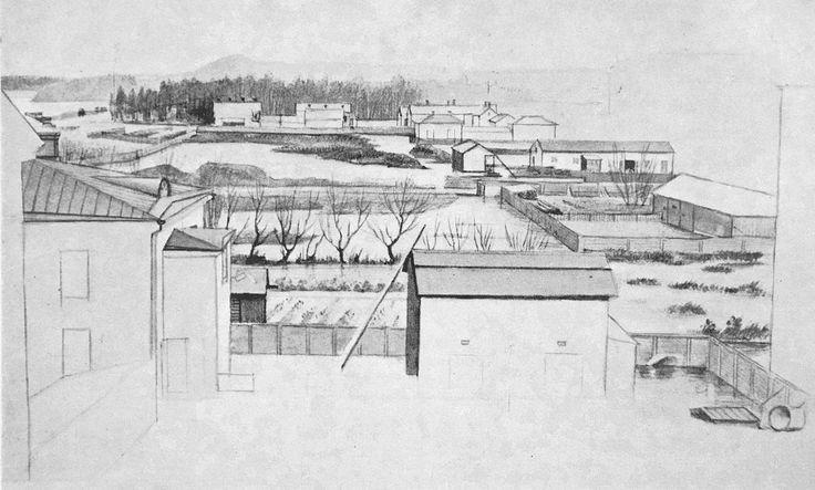 From Wikiwand: Magnus von Wright, Hyeena-korttelia 1840-luvulla. Alueella olleet vähäiset rakennukset purettiin, ja paikalle rakennettiin nykyinen Rautatientori.