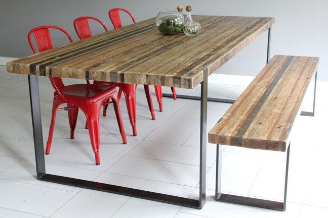 Modern Industrial Dining Table & Bench. via Etsy. LOVE!