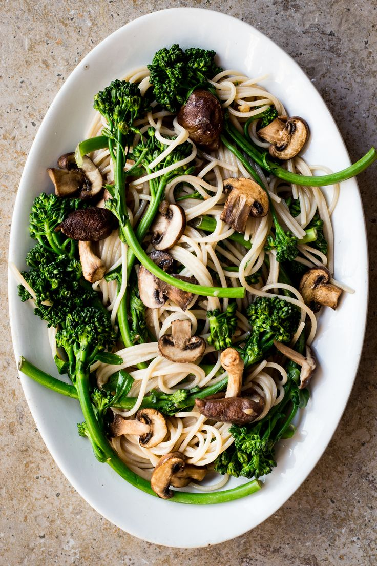 Spring Broccolini and Mushroom Pasta with Ginger Miso ...