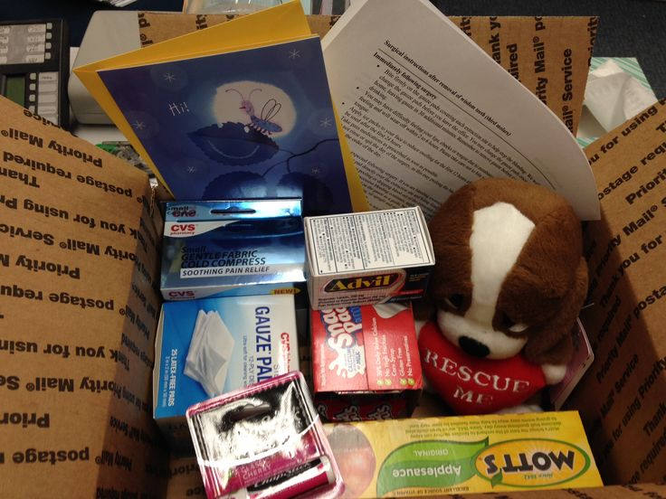 Wisdom Teeth Removal Care Package...Post-care instructions, greeting card, applesauce, pudding, gauze, Advil, ice pack, Chapstick and something a little cuddly