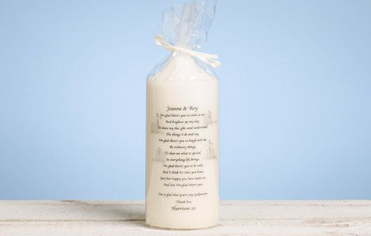 I Just Love It Godparent Poem Candle Godparent Poem Candle - Gift Details. An attractive and sentimental gift for those all-important godparents. This beautifully presented candle makes a wonderful gift for all godparents. A sentimental  http://www.MightGet.com/january-2017-11/i-just-love-it-godparent-poem-candle.asp