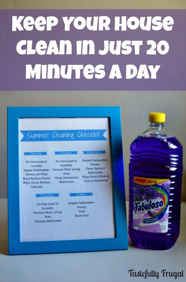 Keep Your House Clean In Just 20 Minutes A Day Free Printable