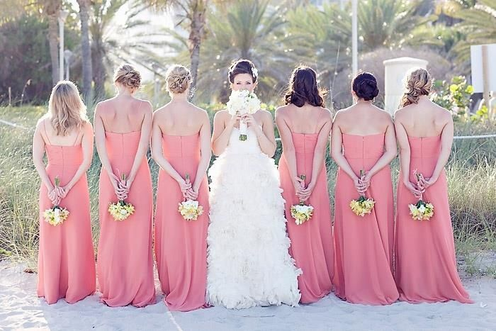 Yellow flowers bridesmaid dresses