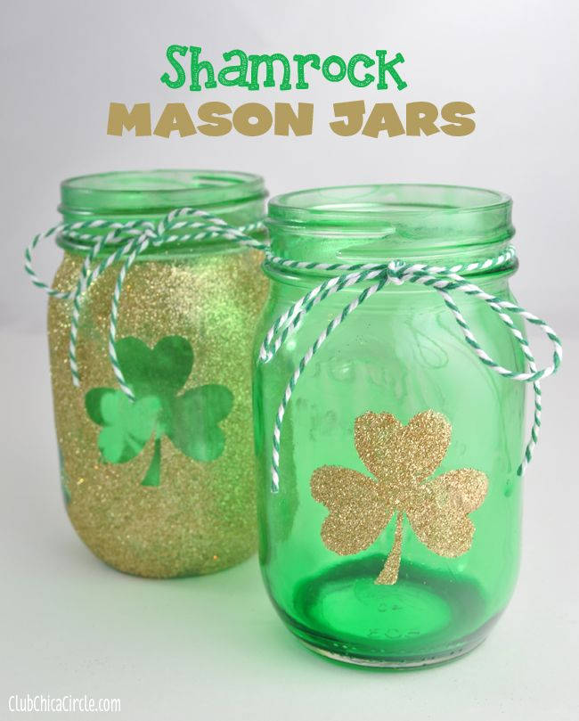 Shamrock gold and green tinted mason jars for St. Patty's Day