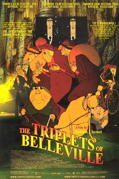 Directed by Sylvain Chomet.  With Michèle Caucheteux, Jean-Claude Donda, Michel Robin, Monica Viegas. When her grandson is kidnapped during the Tour de France, Madame Souza and her beloved pooch Bruno team up with the Belleville Sisters--an aged song-and-dance team from the days of Fred Astaire--to rescue him.