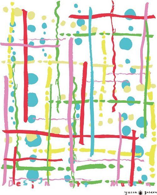 Rhythm/yucca garden by HIOKI Yuka  本来は目には見えない音楽を、線・点・形・色で表現してみました。点が弾ける軽快なリズムのテクノです。カラフルでポップな色使いで、着るだけで楽しくなるようなプリントデザインを目指しました。  【yucca garden by HIOKI Yuka】 Francoise CONTE(フランス)テキスタイルデザインコース卒業。壁紙、カーテンなどのファブリック類やアパレルに適したテキスタイル柄の製作を得意とするグラフィックデザイナー。