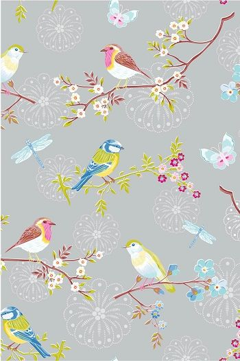 Pip Early Bird Grey Wallpaper Perhaps Dining Room Accent Wall