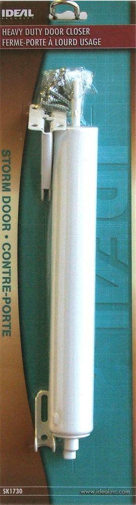 Ideal Security SK1730W HEAVY DUTY DOOR CLOSER WHITE storm door hardware closes