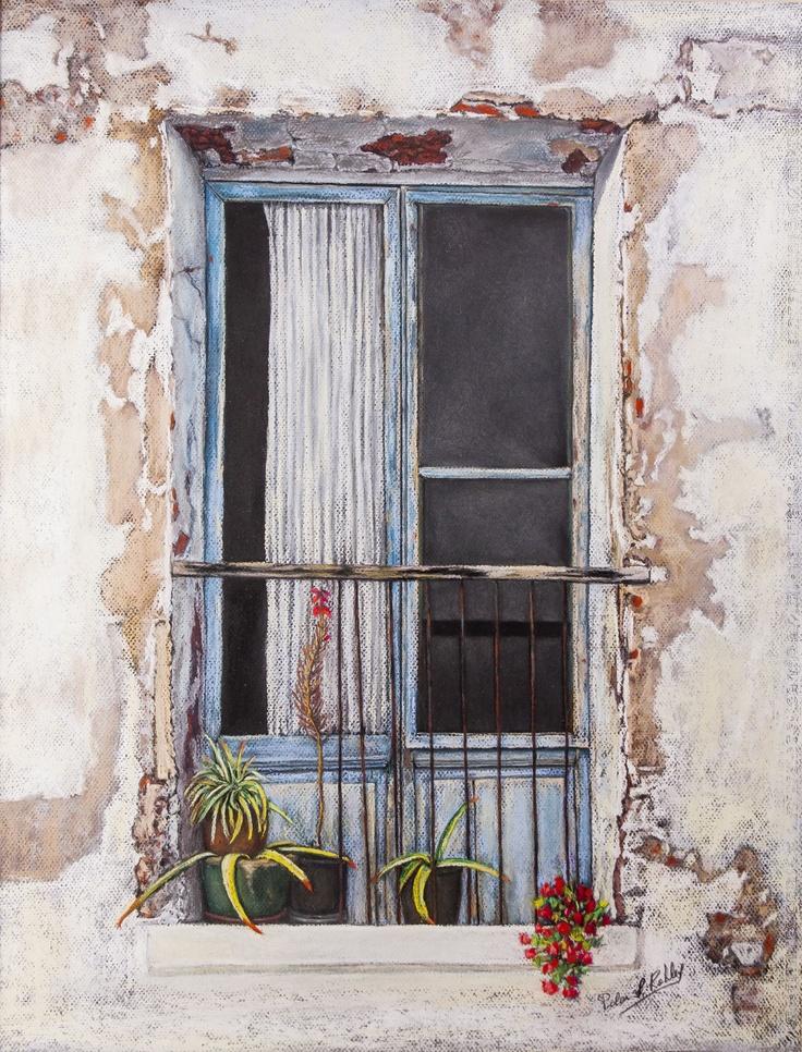 Pilar S. Robles.  Balcón de Peñíscola. Pastel. 81 x 66.