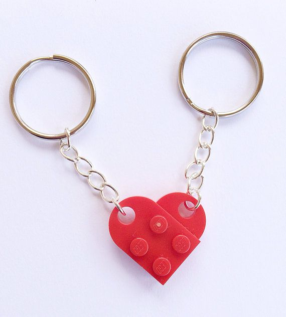 LEGO® Heart Keychain Couples Gift by PumpkinPyeBoutique on Etsy