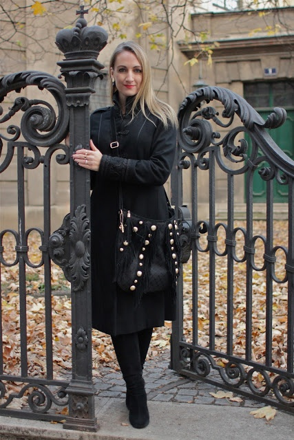 Zara coat, Friis & Company bag and boots.