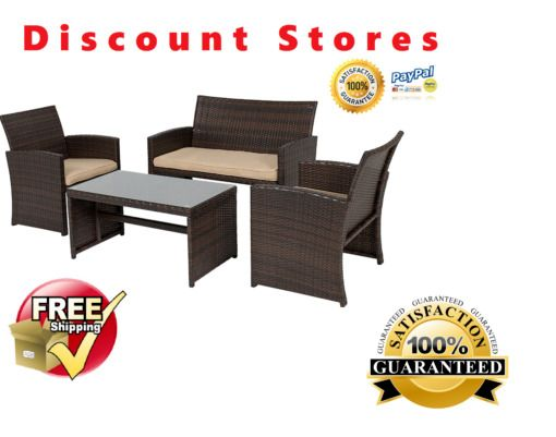 Outdoor Patio Furniture Set Comfort Cushioned Seats Sturdy Steel Frame 4 Pieces  #OutdoorPatioSet