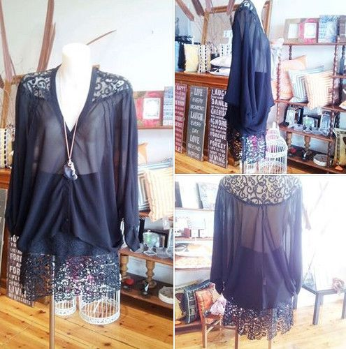Black chiffon breeze shirt with gorgeous lace back worn with classy length lace skirt. - Stylehaus Boutique, Clothing Retailers, Mile End, SA, 5031 - TrueLocal