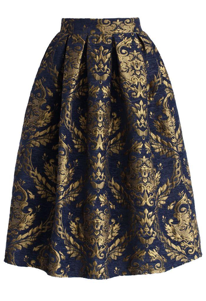 Glorious Baroque Midi Skirt - Retro, Indie and Unique Fashion