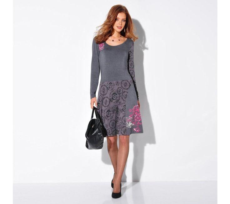 Šaty s potiskem a dlouhými rukávy | blancheporte.cz