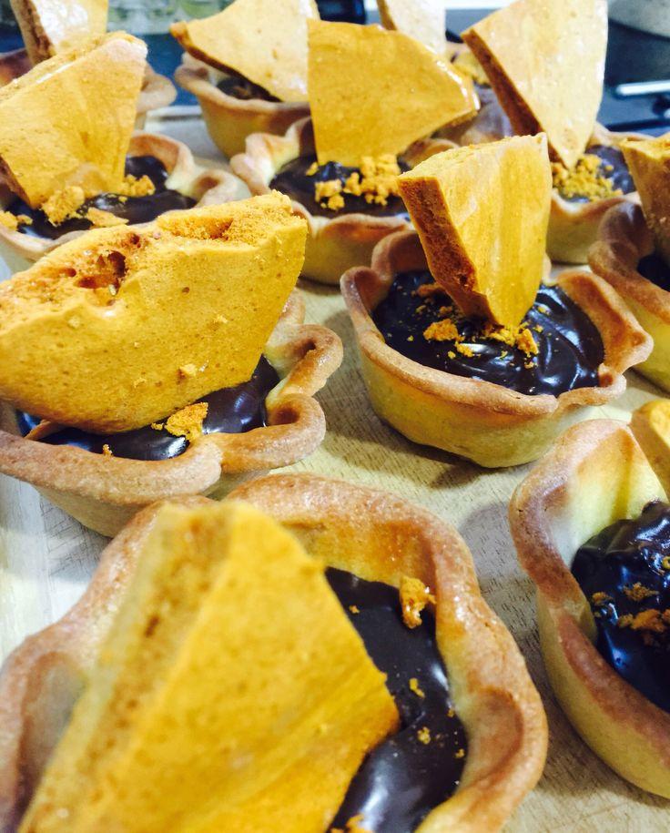 Chocolate ganache and honeycomb tarts