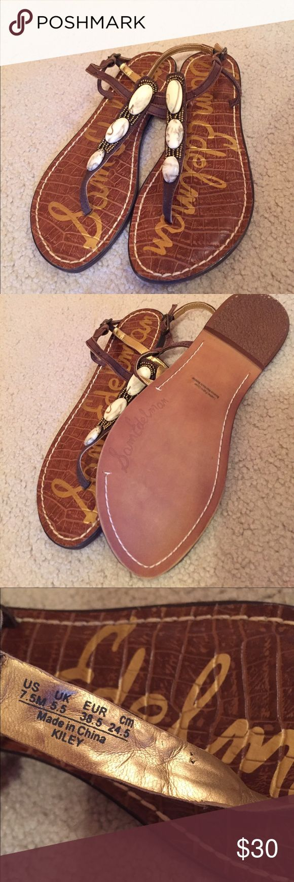 Sam Edelman Gigi sandal Worn once! Like new condition! The straps feature stones and beading, giving these sandals a feminine boho look. They are a little big for me. Sam Edelman Shoes Sandals