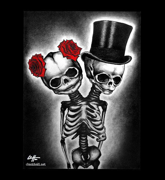 Print 11x14  Couple  Skull Skeleton Roses Tophat Top by chuckhodi, $16.00