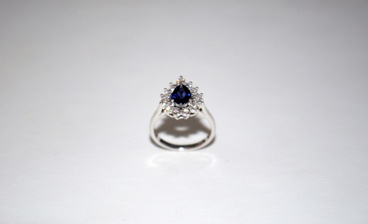 Blue Sapphire ~ Custon Made ~ Engagement Ring ~ 14kt White Gold ~ Diamonds