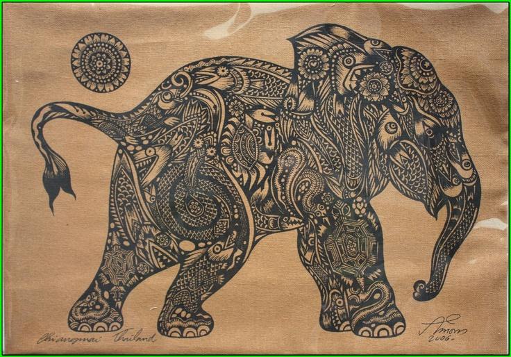 Traditional Thai elephant tattoo design