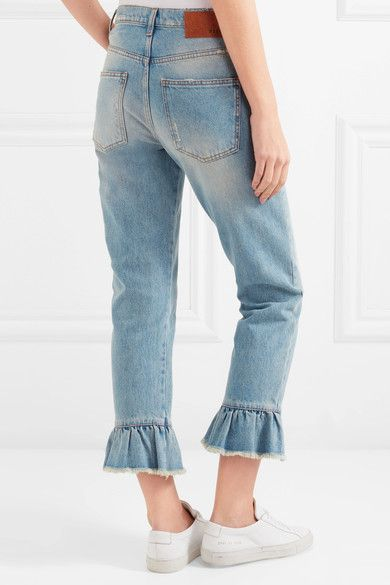 MSGM - Distressed Ruffle-trimmed High-rise Straight-leg Jeans - Light denim - IT48