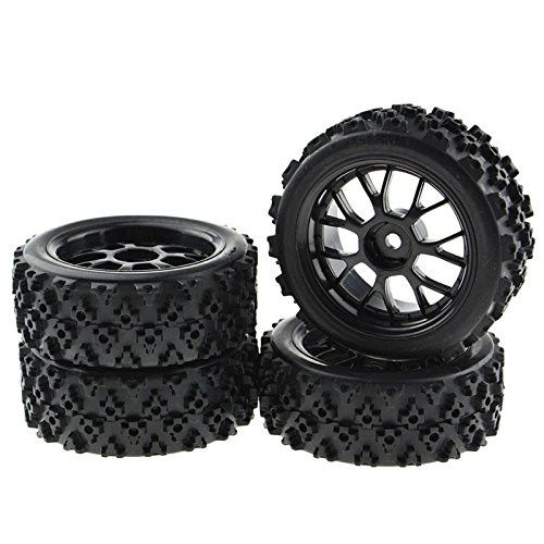 4PCS Black 1:10 Scale RC Tires Wheel Rims Crossing Rubber Off-Road Parts
