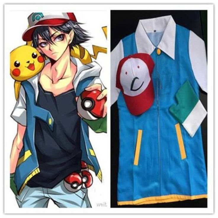 Pokemon Ash Ketchum Trainer Costume Cosplay  Jacket   Gloves   Hat Ash Ketchum…