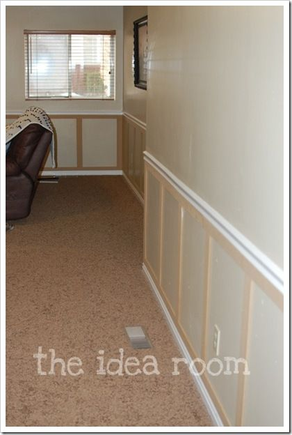 "Best tutorial I've seen for wainscoting for your playroom.  Use 1/4"" MDF.  Buy 4'x8' sheets and have Lowe's cut them into strips the width you want.  No problems with warped boards and much  cheaper than wood.  @Jenny Freehardt"