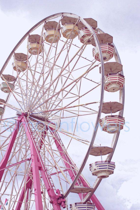 Pink Ferris Wheel Large Format 16x24 Print Carnival Summer Fun