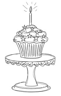 free birthday cupcake digital stamp set outline