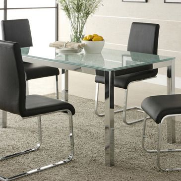 homelegance knox crackle glass top dining table w chrome frame - Cheap Dining Room Sets
