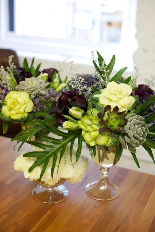 LOVE that she uses succulents as front facing flowers in these arrangements! #succulents #floraldesign