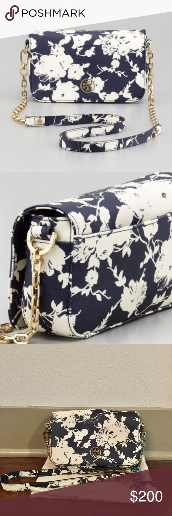 """*LIKE NEW* Tory Burch Floral Robinson Crossbody This bag is now SOLD OUT EVERYWHERE ONLINE! Perfect for the upcoming Spring!! Used twice—has ZERO signs of wear! ✨  * Floral-print coated canvas with golden hardware. * Removable adjustable crossbody strap, 22 1/2"""" drop. * Fold-over flap with snap-button closure. * Metal double """"T"""" medallion at front. * Inside, one zip pocket; logo jacquard lining. * 5""""H x 8""""W x 2 1/2""""D; weighs approx. 1lb. * """"Robinson"""" is imported of Italian materials. Tory…"""