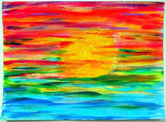 Neon Sunset Abstract 5x7 canvas paper original by PreciousBeast, $14.00