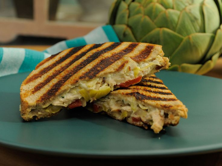 Artichoke and Spinach Dip Chicken Panini recipe from Jeff Mauro via Food Network